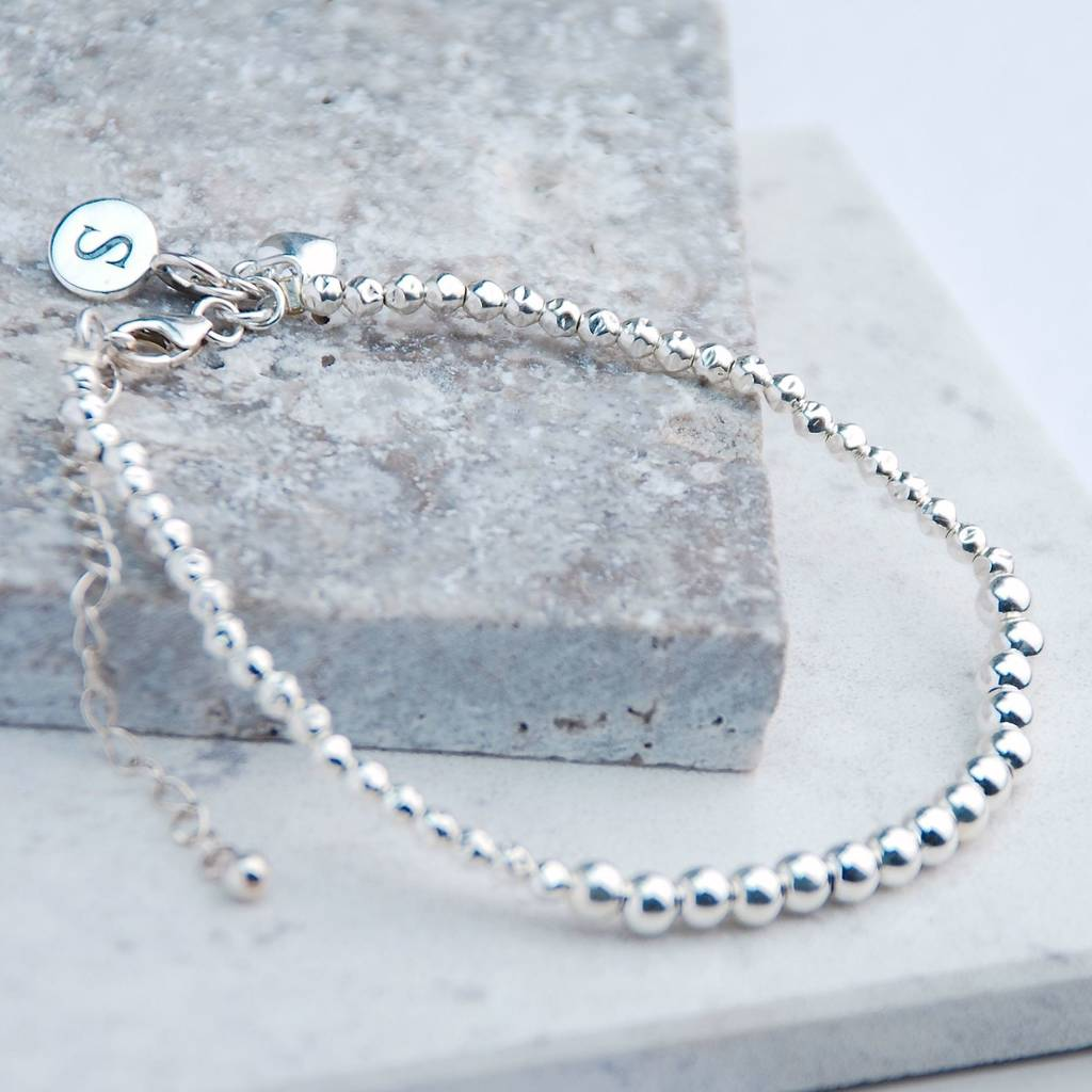 Personalised Sterling Silver Friendship Bracelet Charms At Back