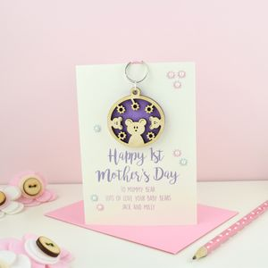 Personalised 1st Mother's Day Bears Keyring Card - personalised