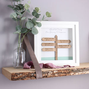 'Our Journey' 3D Personalised Signpost Frame - mixed media & collage
