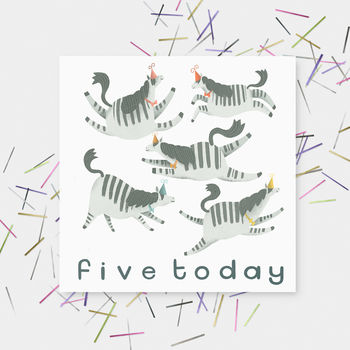 'Five Today' Happy Birthday Zebras Greetings Cards