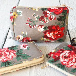 Pastel Floral Print Make Up Bag - make-up & wash bags