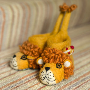 Leopold The Lion Children's Felt Slippers - for over 5's