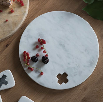 Marble Cross Circular Serving Board
