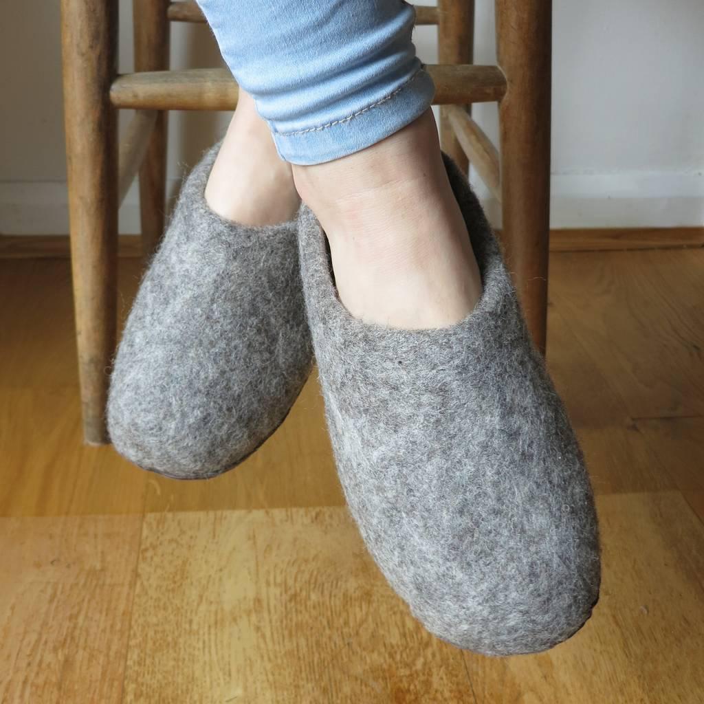 07a328c1fa0b fair trade handmade eco felt mule slippers suede sole by aura que ...