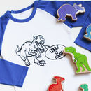 Personalised Dinosaur Birthday Raglan Top/T Shirt