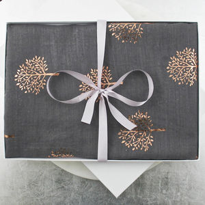 Rose Gold Metallic Tree Cotton Scarf