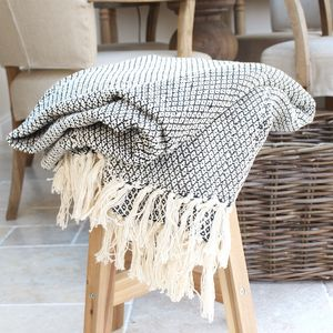 Black And Cream Woven Cotton Throw - al fresco dining