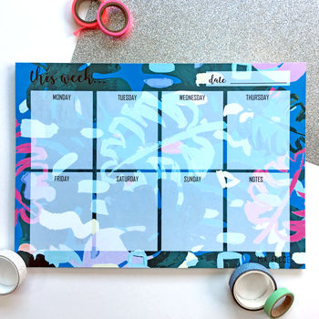 'Monstera Scribbles' A4 Weekly Planner Desk Pad