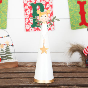 White Tin Angel With Gold Star Christmas Decoration