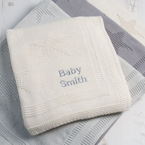 Personalised Little Star Unisex Baby Blanket