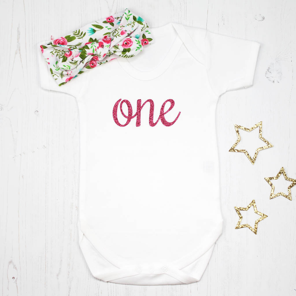 795ab0ae9ff13 first birthday sparkle baby grow with headband set by betty bramble ...
