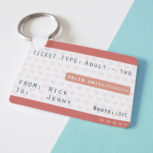 Ticket To Love Personalised Train Ticket Keyring