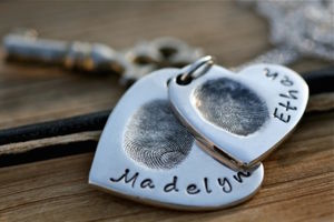 Fingerprint Heart Duo Necklace