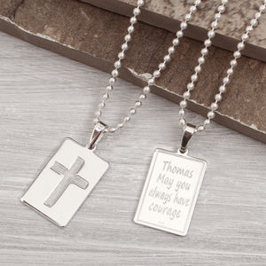 Mens Personalised Crucifix Dog Tag Necklace