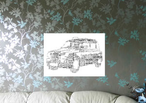 Taxi Cab Personalised Word Art Print