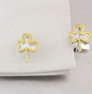 Shamrock Cufflinks In Silver And Gold