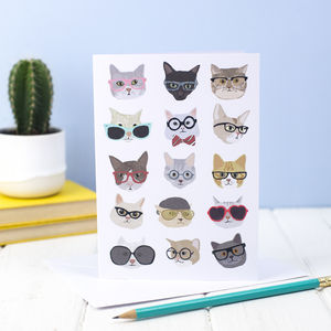 Cats With Glasses Greeting Card
