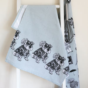 'Hamish' Set Of Two Schnauzer Tea Towels