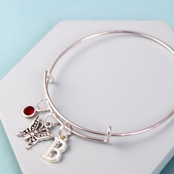 Filigree Butterfly Silver Initial Birthstone Bangle