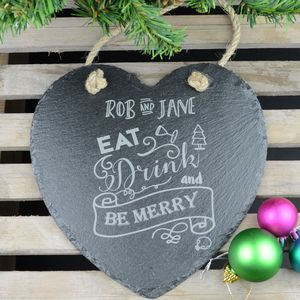 Christmas Personalised Heart Slate Plaque