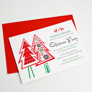 Personalised Christmas Tree Party Invitations