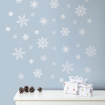 Snowflake And Snow Dot Wall And Window Stickers