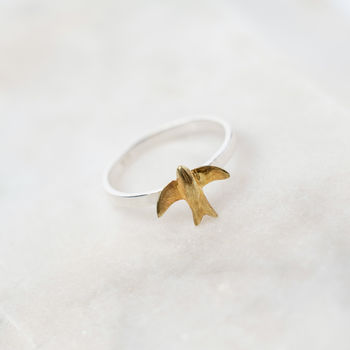 Swallow Sterling Silver And Gold Vermeil Charm Ring