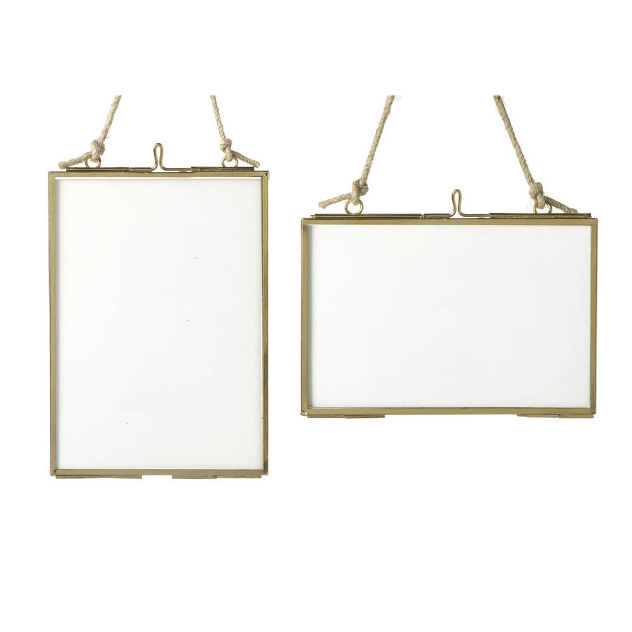 small brass glass hanging frame