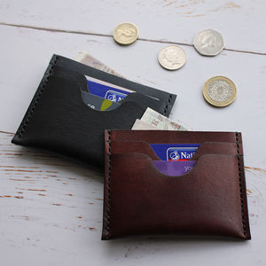 Leather Card Wallet With Notes Compartment - gifts for fathers