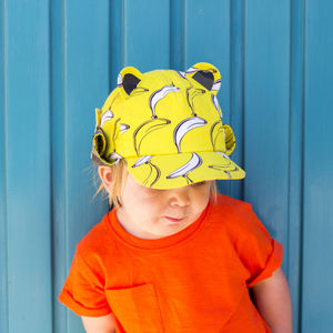 Children's UV Banana Print Baseball Hat With Neck Flap - gifts for children