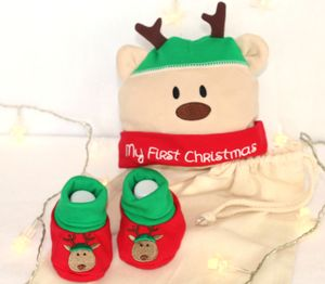 Baby's First Christmas Reindeer Hat And Booties Gift