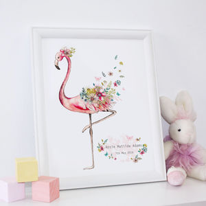 Personalised New Baby Girl Flamingo Print - christening gifts