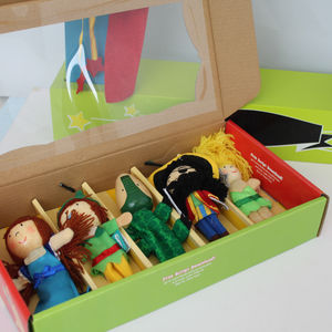 Set Of Peter Pan Wooden Finger Puppets