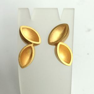 Gold Ellipse Stud Hanging Earrings - earrings