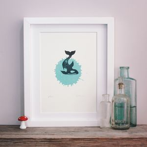 Orca Splash Killer Whale Linocut Hand Pulled Print A5 - posters & prints