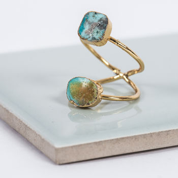 Druzy Quartz Double Gold Ring