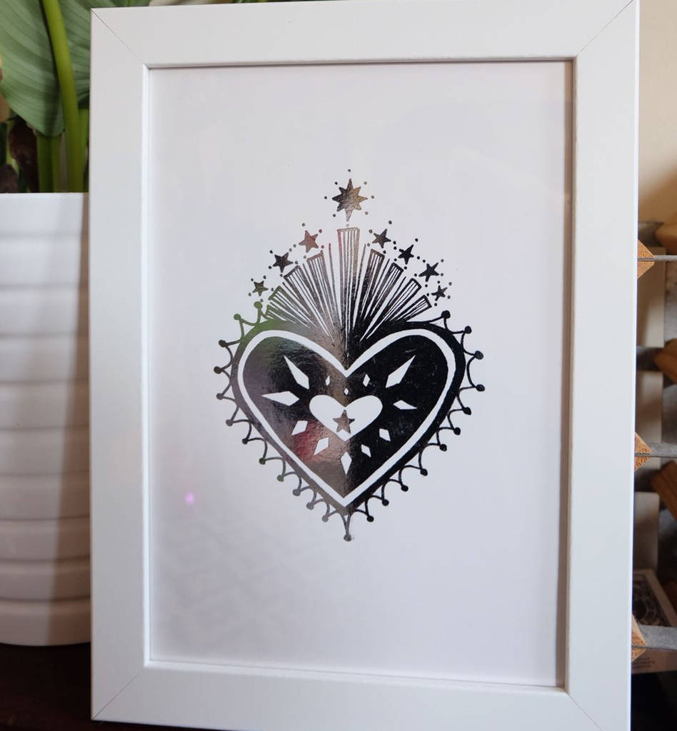Metallic Foiled Starry Sacred Heart Print