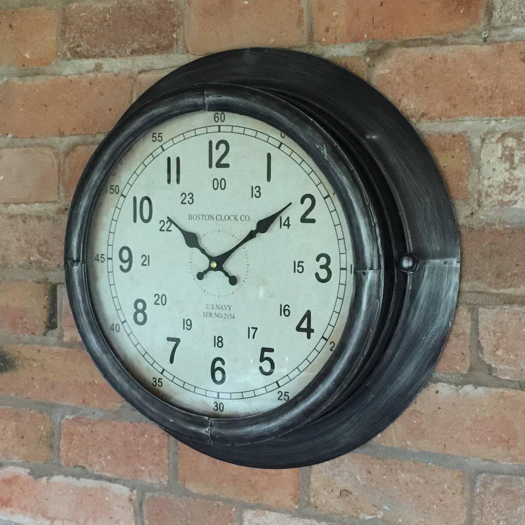 Antiqued gunmetal grey industrial wall clock