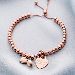 Personalised Rose Gold Ball Slider Bracelet - gifts for her