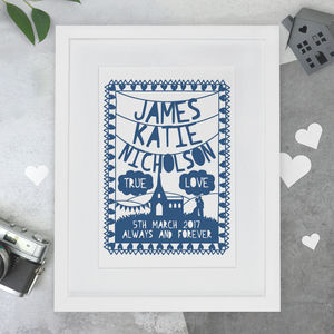 Personalised Wedding Papercut Or Print - prints & art sale