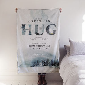 Personalised 'Hug Across The Miles' Winter Blanket - blankets & throws