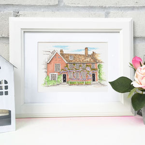 Personalised House Illustration - canvas prints & art