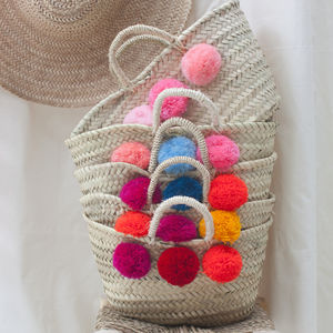 Mini Mixed Pom Pom Market Basket - bags