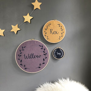 Personalised Linen Baby Name Hoop - pictures & prints for children