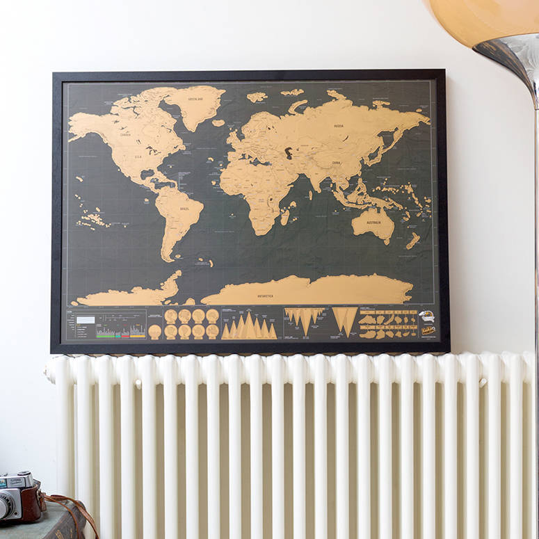 Scratch Map Deluxe Poster Framed By Luckies Notonthehighstreetcom - Framed scratch world map