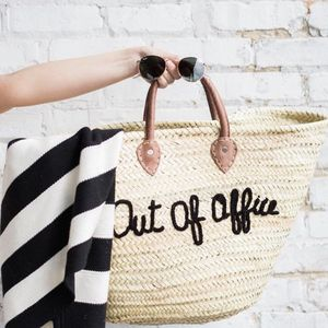 'Out Of Office' Straw Bag - for travel-lovers