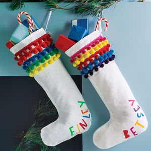 Personalised Pom Pom Christmas Stocking - christmas catalogue