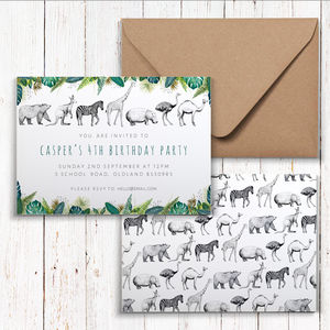Animals Of The World Party Invitations