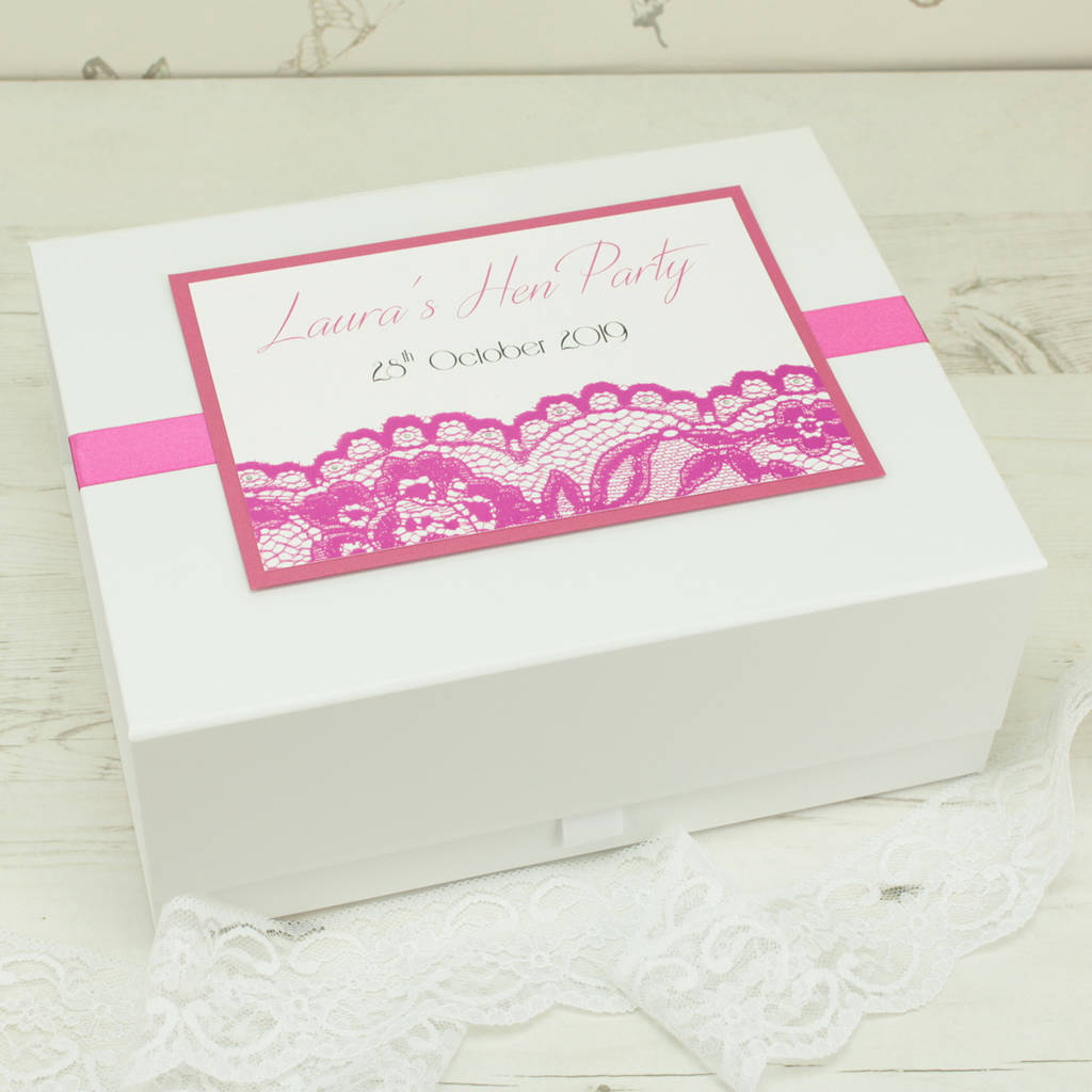 personalised lace hen party memory box by dreams to reality design ...