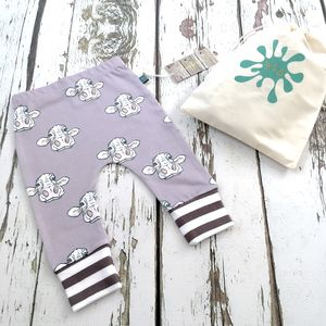 Cow Baby Leggings, Organic Baby Leggings - trousers & leggings